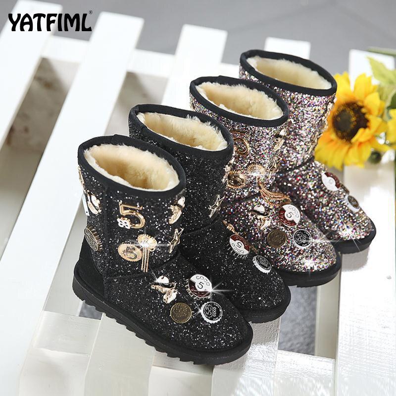 YATFIML, botas de invierno ostentosas para niñas, botas de nieve para niñas, zapatos de invierno, zapatos de vestir con piel para niños pequeños, zapatos para niñas