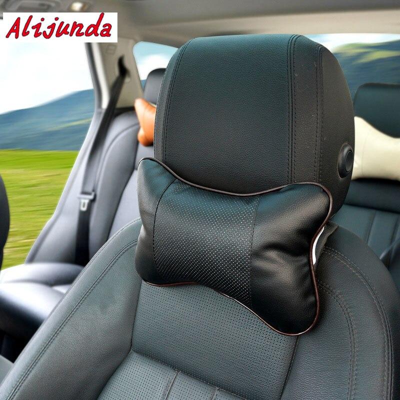 2 almohada de cuello para coche asiento de cuero PU asiento de coche cabeza de cuello reposacabezas para Mazda 2 3 5 6 Mitsubishi ASX/Outlander Subaru Forester Outback