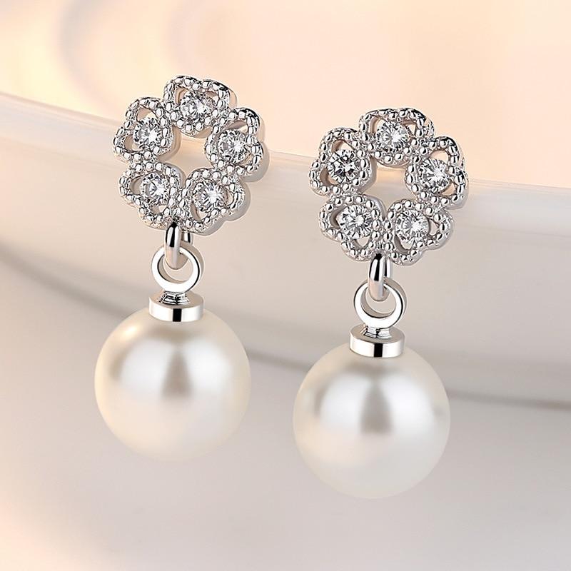 100% 925 sterling silver fashion rose flower pearl ladies`stud earrings women jewelry female gift drop shipping