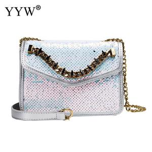 Women Leather Handbags Beaded Crossbody Bags For Female 2019 New Fashion Cross Body Sequin Evening Party Bag With Gold Chain