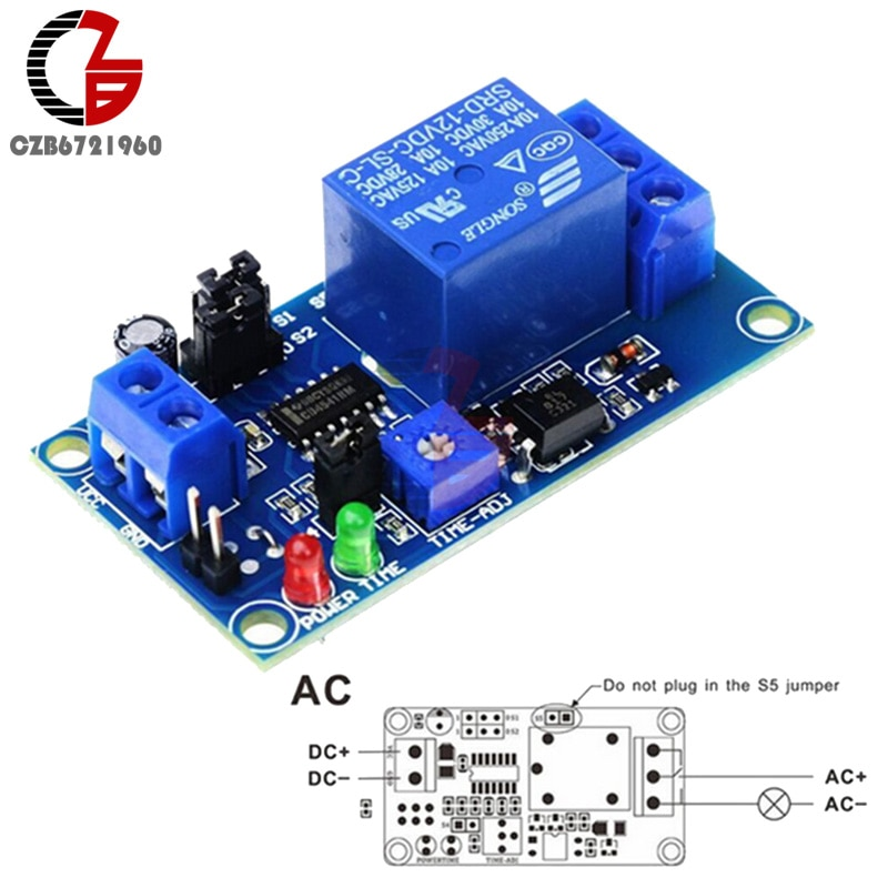 DC 12V Time Relay Module Normal Open Time Delay Relay Timing Timer Relay Control Switch Adjustable P