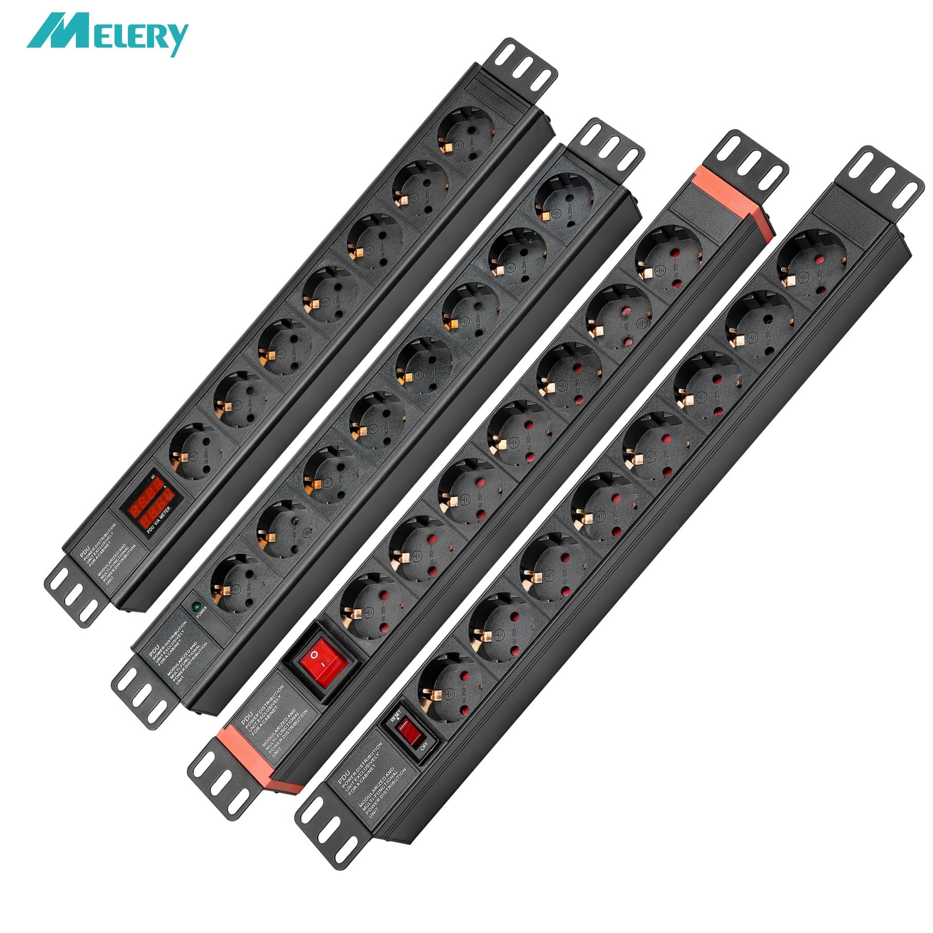 Tira de alimentación PDU 1U/1.5U 19 pulgadas 7/8 AC EU Outlets con protección de sobrecarga de interruptor/luz indicadora/cable de extensión de pantalla de CA