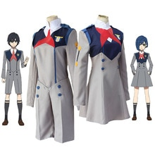 Anime DARLING w FRANXX Cos HIRO ICHIGO MIKU KOKORO szary mundurek szkolny Cosplay kostium Halloween Party garnitur strój