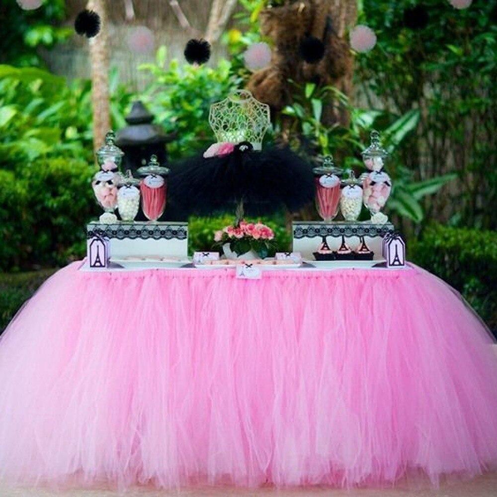 1 pçs 15 cores tule mesa saia diy tutu utensílios de mesa saias para casamento aniversário decoração do chuveiro do bebê favores festa casa têxtil