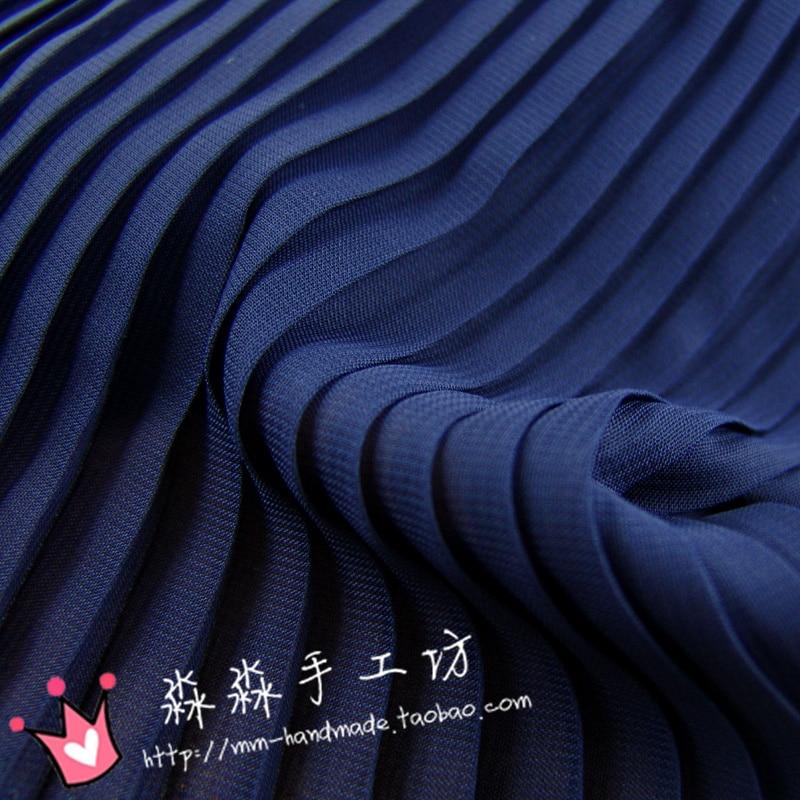 1psc The new spring and summer 2016 dark blue cloth accordion pleated Chiffon Ruffle shirt dress fabric pressure semi wholesale