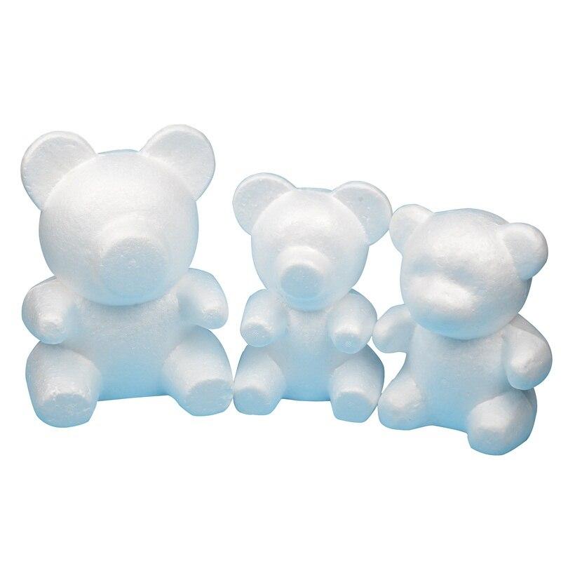 Bola de espuma de poliestireno de 4 tamaños, oso rosa, artesanía blanca para DIY, decoración para fiestas, bodas, Año Nuevo, regalo del Día de San Valentín