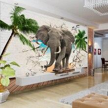 Papier peint Photo 3D personnalisé   Mur déléphant cassé en 3D, arbres cocotiers, décoration murale de fond de TV pour salon et chambre à coucher