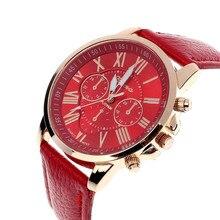 2019 New Classic Dark Green Watch Geneva Roman Numerals Faux Leather Analog Quartz Women Wrist Watch
