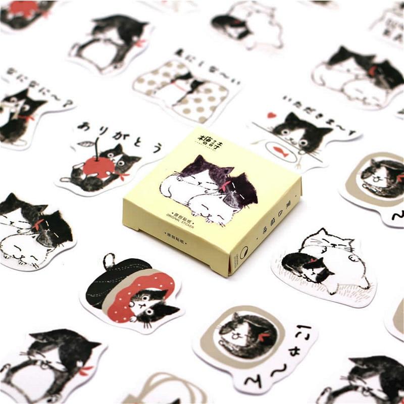 40 Uds pegatina de gato japonés adorable Animal pegatinas bonitas regalos para niños a maleta para portátil guitarra nevera bicicleta Coche