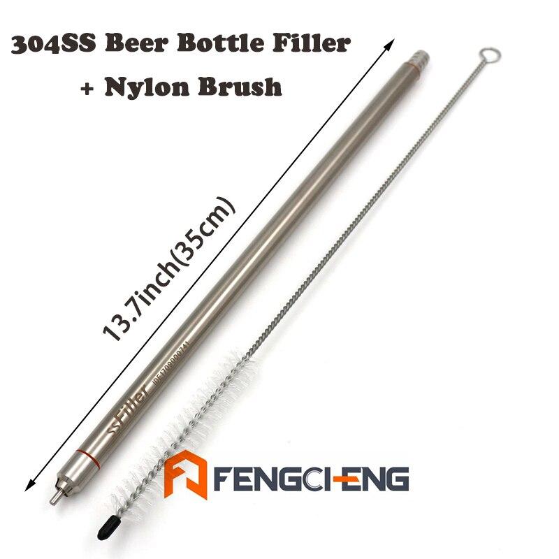 """13,7 """"(35 см) Длина 304SS пружинный наполнитель для пивной бутылки с нейлоновая щетка для чистки домашнего пивоварения"""