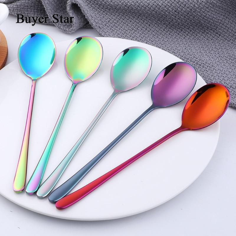 Cuchara de café colorida con mango largo de acero inoxidable 304, cuchara de mezcla Coreana de 5 colores, cuchara de cocina para postre