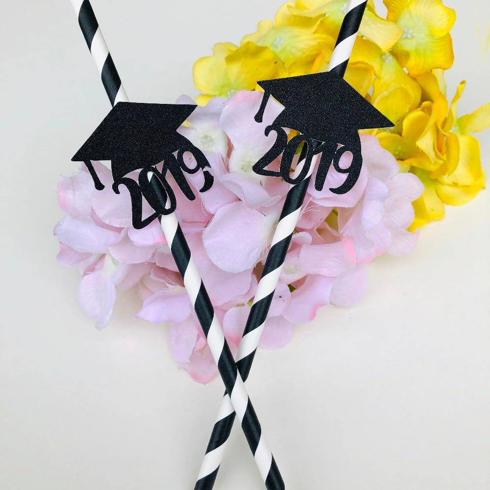 2019 Graduation party decoration Drinking paper Straws Class Of 2019  Cap black High School Decor 25 pieces tableware