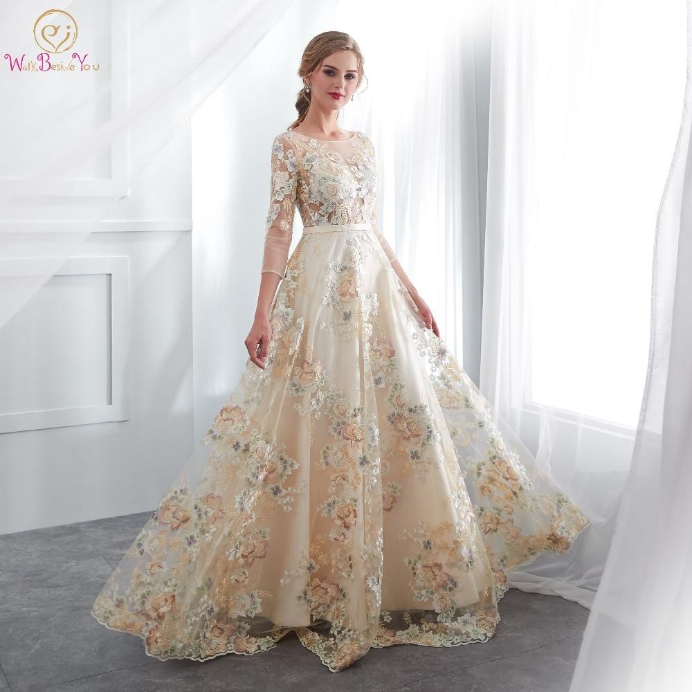Floral Prom Dresses Walk Beside You Lace 3/4 Sleeves A-line Champagne Belt Empire Waist Long Evening Gowns Vestido De Formatura