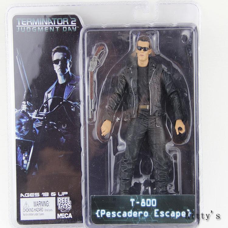 "Envío Gratis 7 ""18cm NECA The Terminator 2 Arnold figura de acción T-800 pescador Escape figura de PVC en miniatura de juguete # ZJZ004"