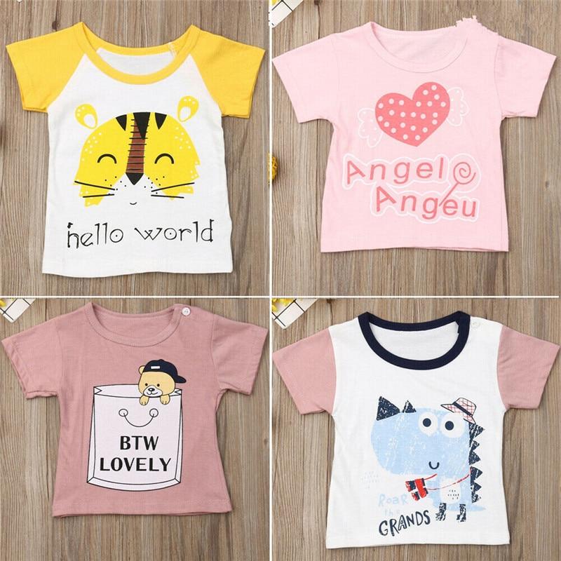 2019 New Toddler Kids Baby Boys Girls Cotton T-shirt Summer Tops Short Sleeve Clothes