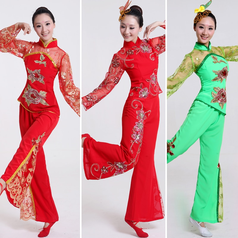 Женский костюм для танцев, блузка + брюки, 16