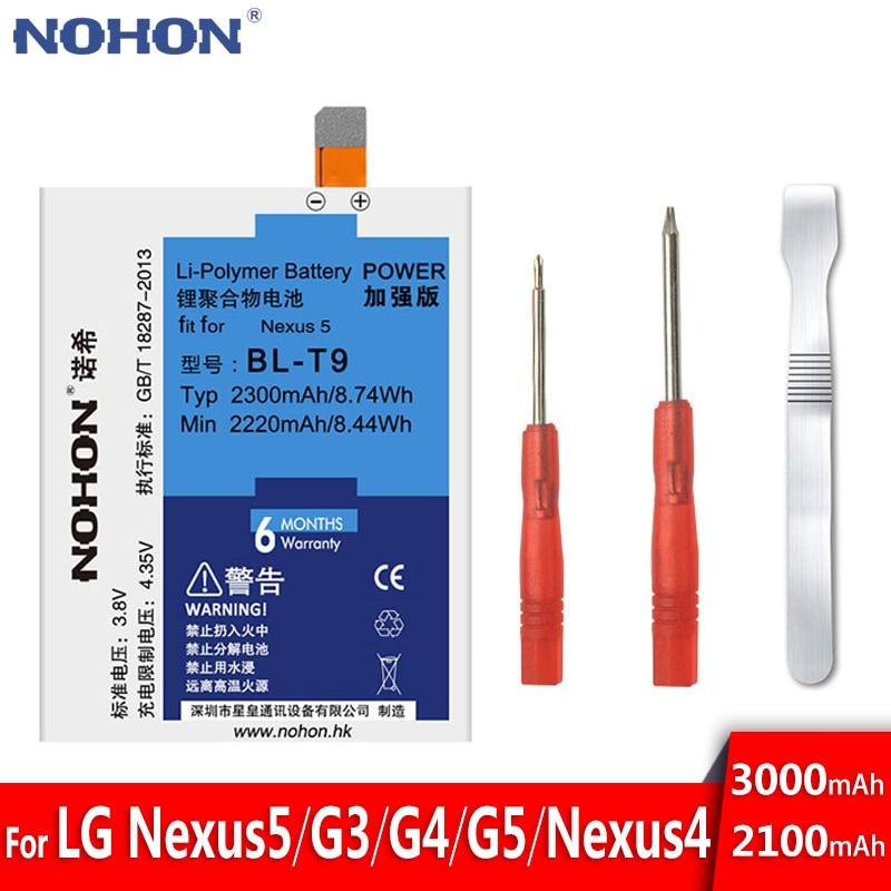 Original NOHON Battery For LG BL-T9 G3 G4 G5 BL-T5 Google Nexus 4 5 Optimus G BL-53YH BL-51YF BL-42D1F Real Capacity Bateria