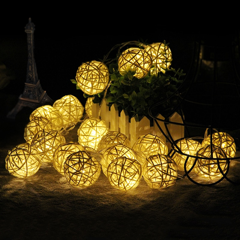 10M LED ratán guirnalda con luces redondas Sepak Takraw hadas cortina luces Navidad guirnalda para jardín boda fiesta decoraciones