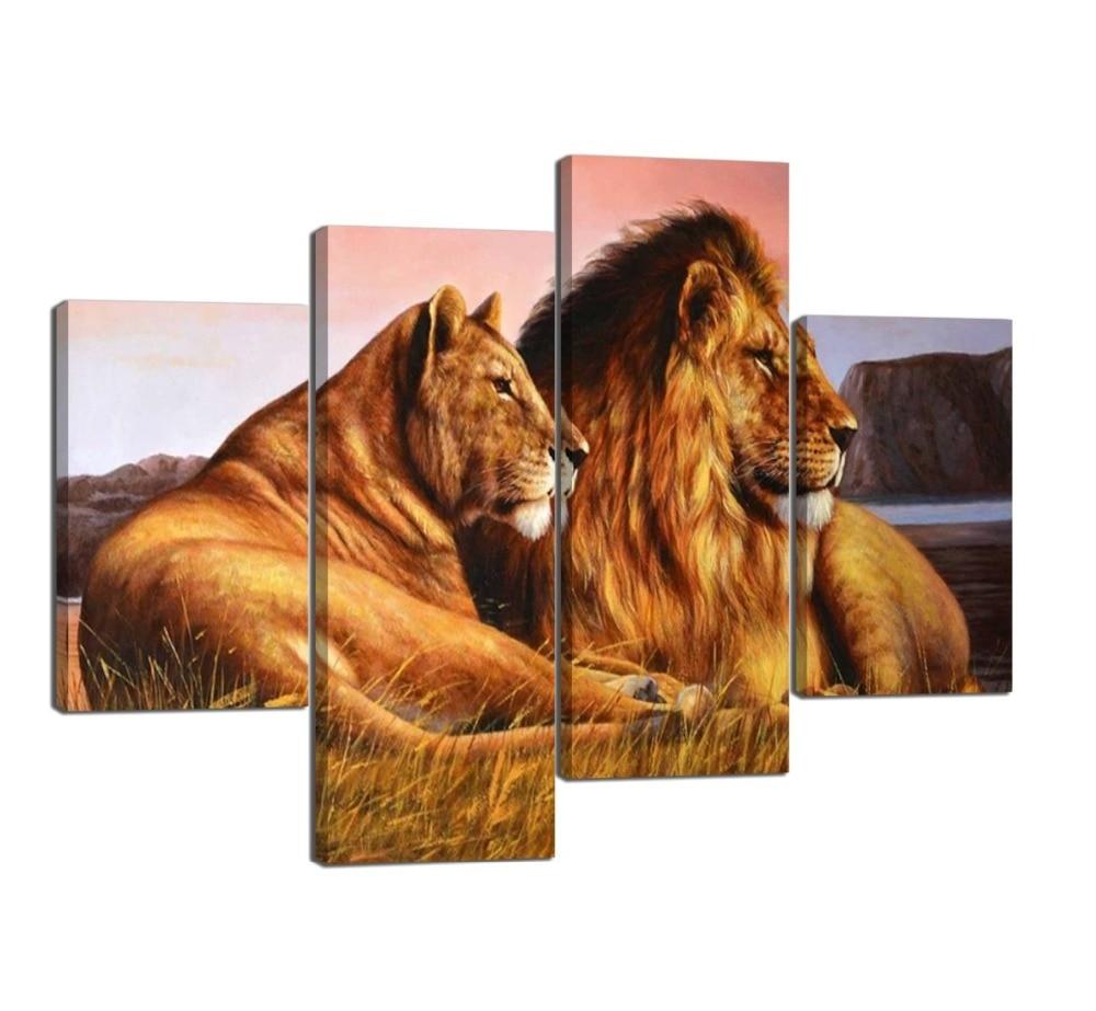 4 paneles de Arte de León moderno para pared de León y León impresiones en lienzo impresiones y carteles decoración del hogar