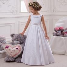 Лидер продаж, платье с цветочным узором для девочек белое платье трапециевидной формы с бантом и поясом, без рукавов, с круглым вырезом, плат...