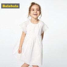 BalabalaChildren Dresses Kids Girl Short Sleeve Flower Print Cotton Linen floral Dress Baby Girl Summer dresses for girls