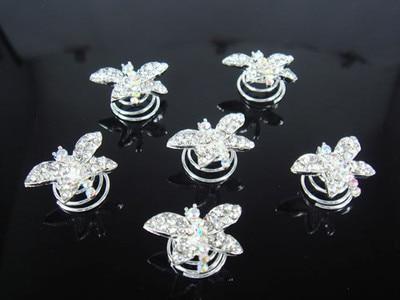 12 piezas boda libélula cristal cabello giros alfileres
