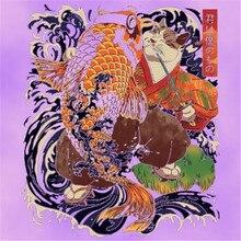 Vêtements homme et femme 25CM   Logo de rue à la mode, patchs imprimés en transfert de chat du japon, patchs imprimés pour vêtements, patchs pour T-shirt