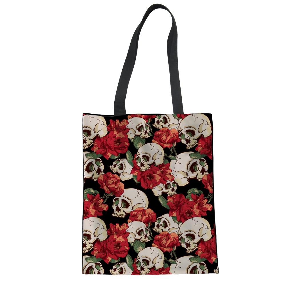 Bolso de compras FORUDESIGNS Cool Skull Punk, bolso grande de compras para mujeres y niñas, bolso de hombro de lona ecológico, bolso de mano plegable de lino