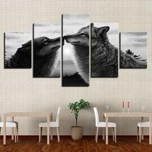 5 sztuk obrazy na płótnie czarne wilki pocałunek zdjęcia nadruk zwierzęta zdjęcia home decor oprawione na ścianę art WD-1297