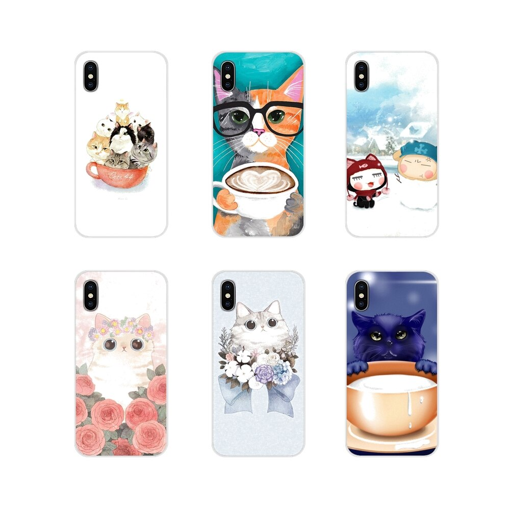 Para Samsung Galaxy S4 S5 MINI S6 S7 borde S8 S9 S10 Plus nota 3 4 5 8 9 lindo taza gato accesorios de la cáscara del teléfono cubre