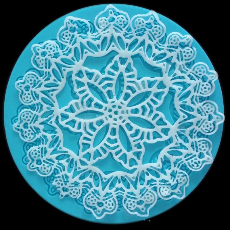 Aimeily hermosa corona para pastel de silicona Flor de encaje Fondant molde para decoración de ala de Mousse arte del azúcar, almohadilla de glaseado herramientas para pastelería, hornear