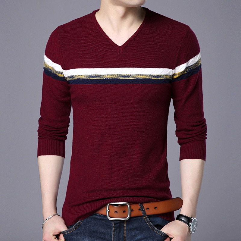 V Neck Pullover Men Brand Clothing 2018 Autumn New Arrival Cashmere Wool Sweater Casual Striped Pull