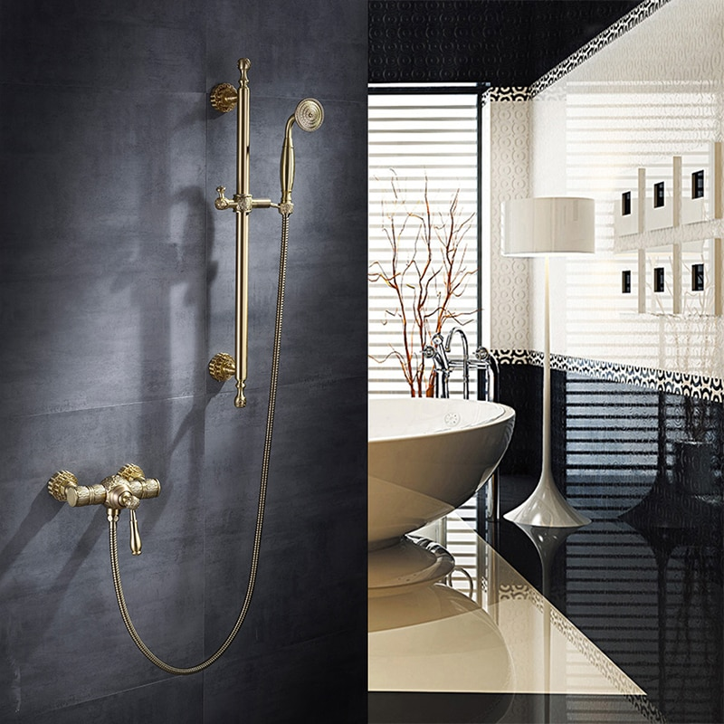 Torneira-صنبور دش الحمام المطري ، صنبور خلاط حوض الاستحمام النحاسي العتيق ، صنبور مثبت على الحائط