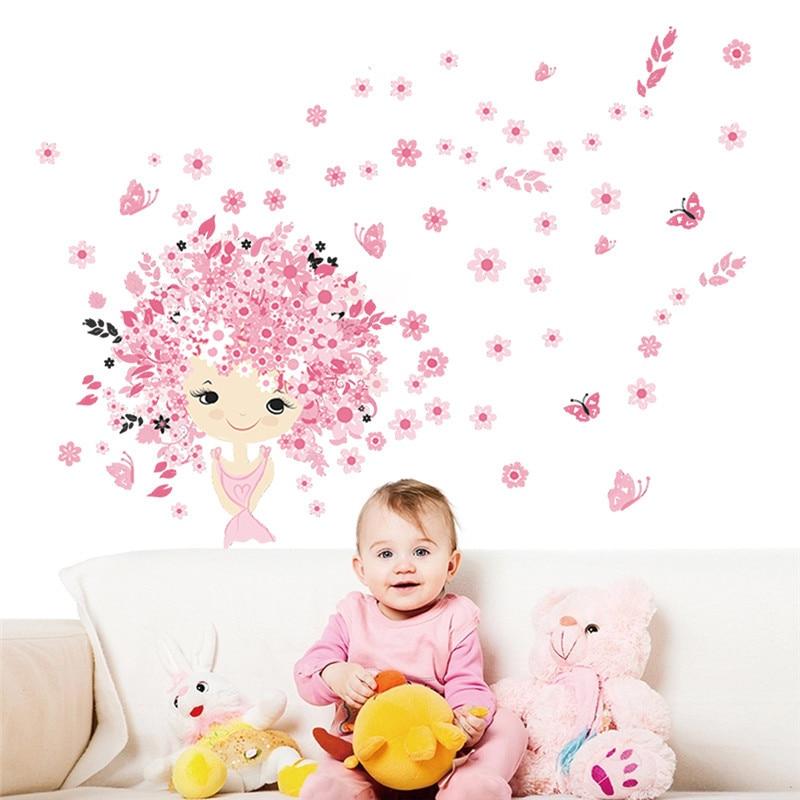 % Flores hadas mariposa niña pegatinas de pared para habitaciones de niños arte chica habitación decoración Mural niños decoración para dormitorio infantil cartel