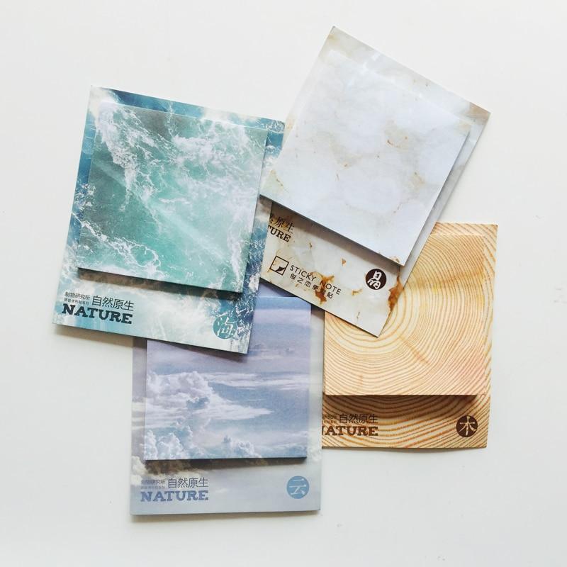 30 枚天然木クラウドアイス海メモパッド計画メッセージ筆記付箋マーカースティックラベル学校オフィスサプライ
