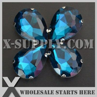 Envío por envío gratuito con DHL, cristal preestablecido, diamantes de imitación de cristal, gota de Pera/lágrima, 10x14mm, circonita azul en níquel, ajuste para coser en bolsa, zapato