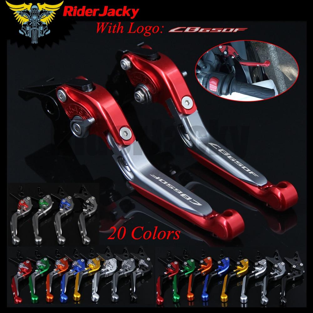 "RiderJacky LOGO ""CB650F"" motocicleta CNC freno palancas para Honda CB650F 2014-2018 2016 2017 ajustable extensible plegable"