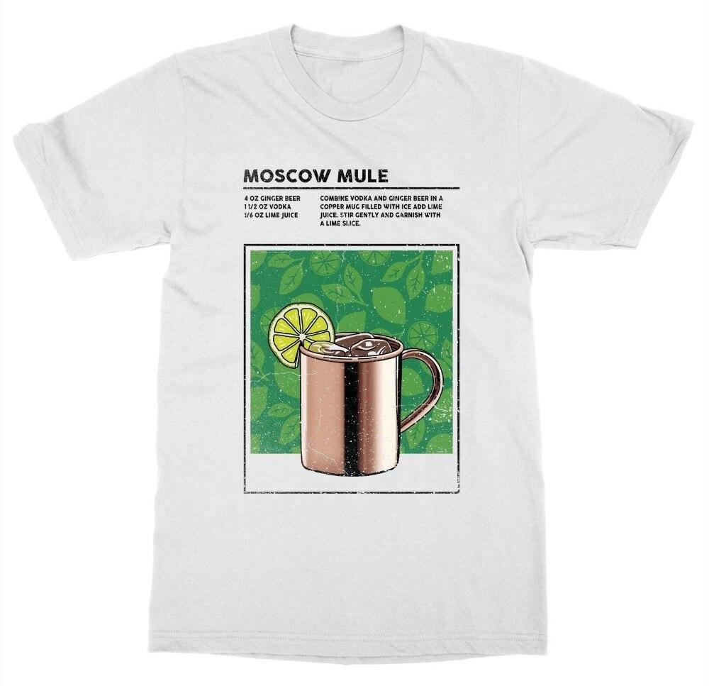 Camiseta de Mule de Moscú bebida mixta cóctel Alcohol barman bebida trago Happy Hour 2019 moda Tops StreetWear camiseta color sólido Colo