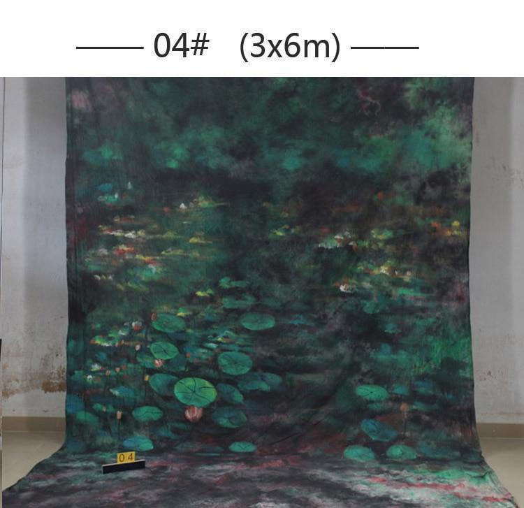 Profesional 10x20ft prop pintado a mano muselina foto telones de fondo 04, Fondos escénicos de flores, cámara fotografía de boda