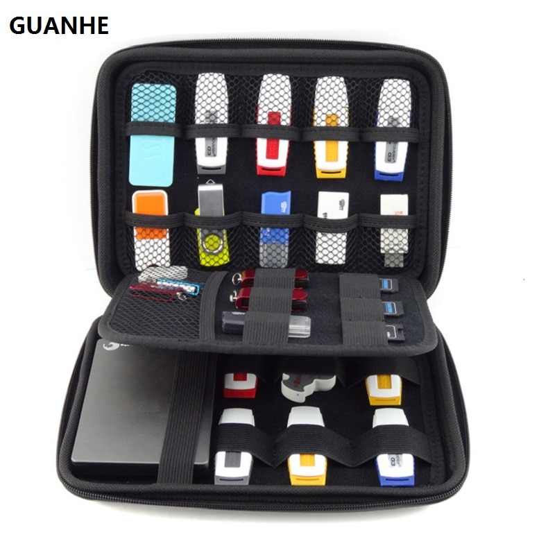 GUANHE Digital Accessories Travel Storage Bag For HDD Bag flash drive SD Card USB Data Cable Power Bank Office Gadget Organizer