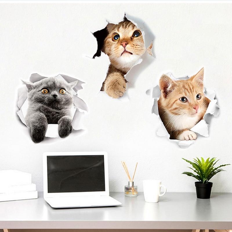 Calcomanía de pared bonita de 2 piezas, cocina 3d, gato, perro, inodoro, sala de estar, decoración del hogar, reiniciador impermeable, póster, pegatinas de pared, decoración, HotA