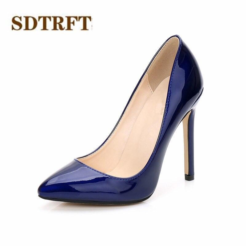 Zapatos SDTRFT Plus35-44, 45, 46, puntiagudos, para mujer, 11cm, tacones finos, zapatos de boda de charol, zapatos de mujer sexy para travestis, zapatos SM
