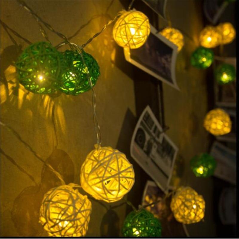 5m 28LED Водонепроницаемый белого и зеленого цвета ротанговая Пальма клубок Гирлянда Свадьба украшение на открытом воздухе вечерние декорати...