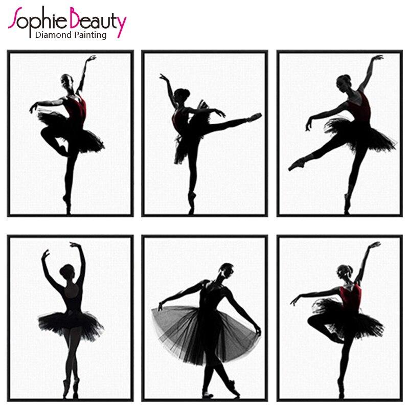 Sophie belleza diy diamante pintura manualidad de punto de cruz bordado conjunto Cisne Negro ballet baile bordado artístico kit para hacer mosaicos