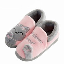 Zapatillas de mujer para casa, invierno cálido, zapatos de gato de dibujos animados, zapatos de piel cálidos y cómodos en casa, pantuflas para mujer, pantuflas de plataforma genuinas