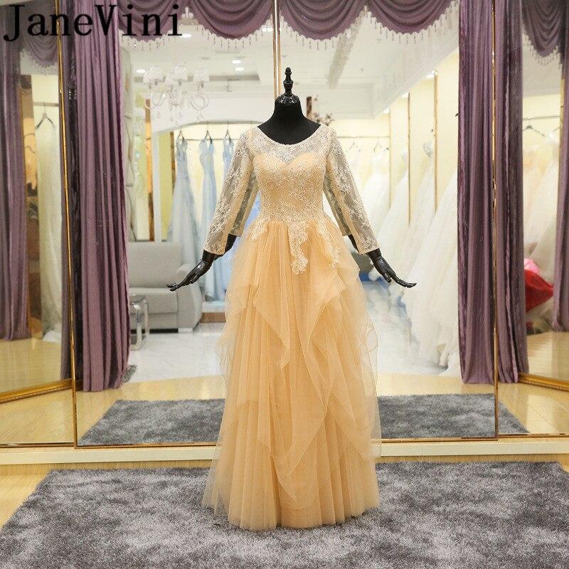 JaneVini Vestidos oro largo manga larga vestido de fiesta Madrina de encaje...