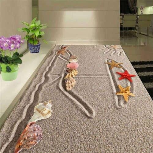 Free shipping 3D Custom Wall Sticker Sea Star Shell Lying Sand Bathroom Flooring Painting Photo Wallpaper for Walls 3d