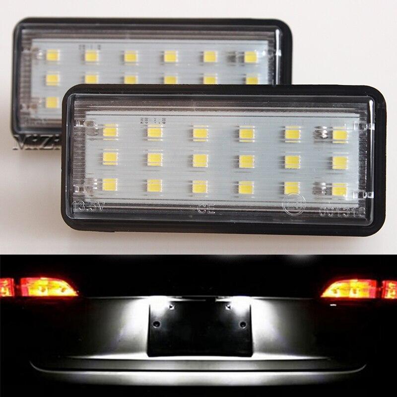 2 uds LED para placa de matrícula de luz blanco Kit de coche para Toyota Land Cruiser 120 Pardo Land Cruiser 200 para Lexus LX470 GX470