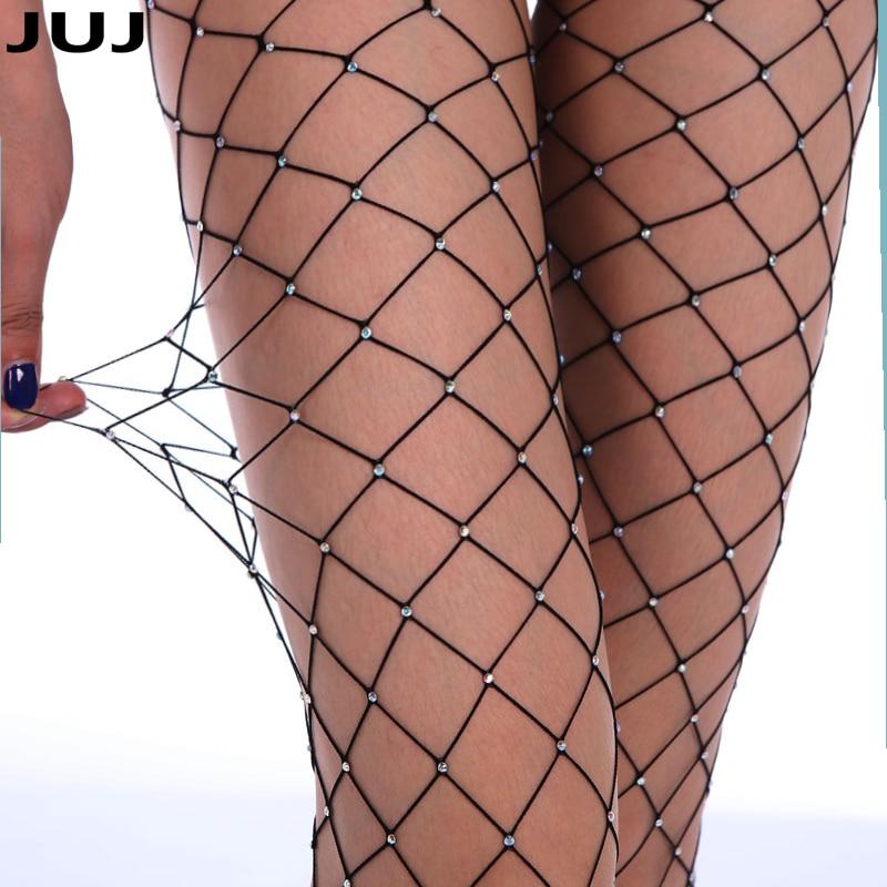 2019 Sexy Woman Large Mesh Fishnet Stockings Glitter Rhinestone Tights Hollow Diamond Pantyhose Lady Medias Bona Sexy Lingerie