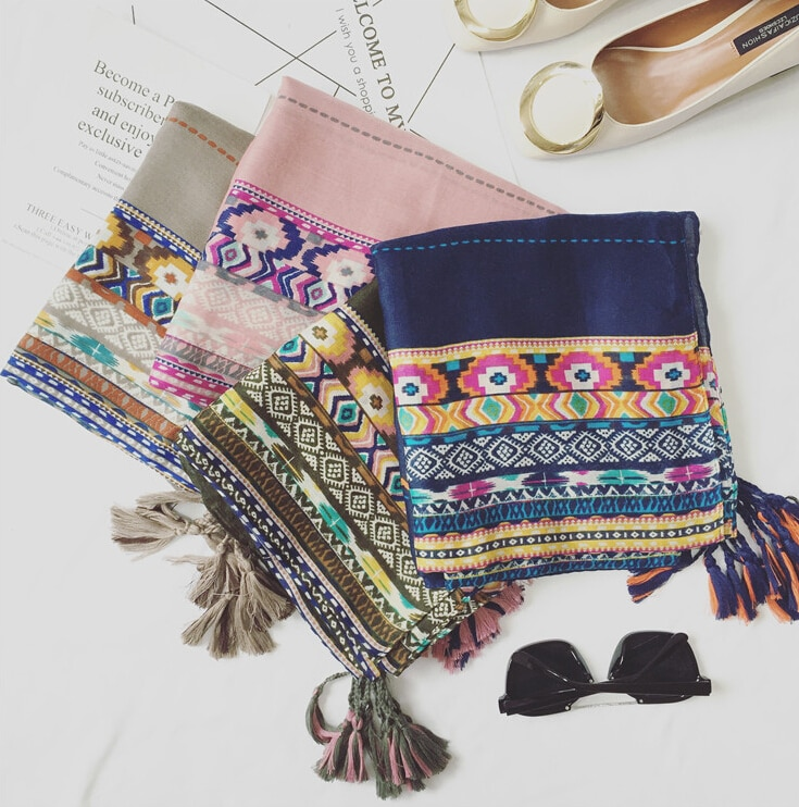 Moda de lujo borlas sarga coton pashmina paisley chales bohemios envolturas musulmanas largas otoño diseño bufandas/bufanda 10 unids/lote